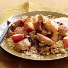 Chicken with Apple, Raisins and Olives.