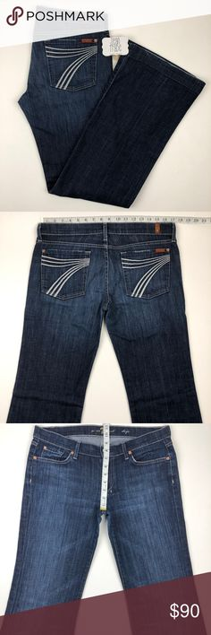 7 for all mankind dojo flare trouser jean 31x34 7 for all mankind dojo flare trouser jean 31x34 in New York U115380S 722595. See photos for measurements. Zip fly, factory distressing and worn look on thigh and rear area. 0037 GUC B11 Nordstrom Saks Neiman Marcus Reformation Anthro Anthropologie Buckle Dojo 7 All Mankind 7FAM Citizens Humanity COH Miss Me True Religion Rock Revival AG Hudson BKE J Brand Paige Madewell Crew Dark Wash Skinny Cut Off Short Crop Boot Bootcut Flare Straight…