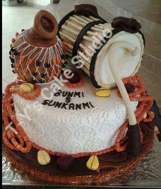 Nigerian Traditional Wedding Cakes | Yoruba traditional wedding cake. Talking drum is vanilla coconut cake ...