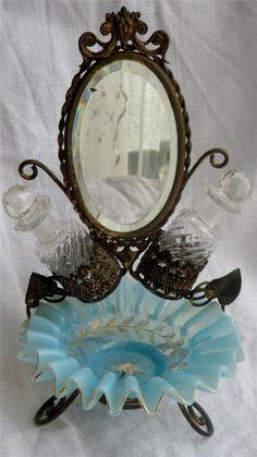 Antique Palais Royal Vanity Set Perfume Caddy and Mirror C1860