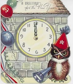 New Years Day Vintage Card w/ Owl