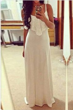 Beige Spaghetti Strap Maxi Dress with Lace Detail