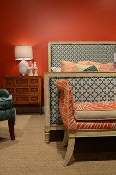 дизайн интерьера стены идеи цвет спальный гарнитур оранжевые оттенки