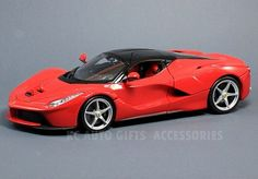 Ferrari LaFerrari F70 Hybrid Red 1:18 Scale Diecast Model Car by Bburago. Hood, trunk and doors open. From the Race and Play Series, Part # 16001-R.