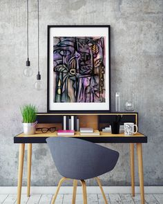 Artwork 'Jungle' by Cuban artist R. Duartes. Abstract acrylic painting from 'Animism' art collection. Art in interior design: home office/ workspace decor