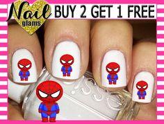 60 Nail Decals - Superhero Cuties - Spiderman by NailGlamsNailDecals on Etsy