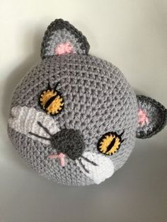 Crochet cat pillow by PeanutButterDynamite on Etsy