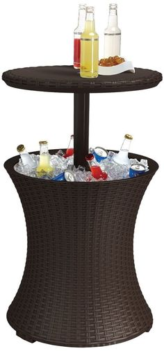 Cold drinks, Cool Bar, instant party! Whether you want a stylish accent table or a functional party accessory, you can have it all with the Outdoor Cooler Wicker Table. #Outdoor #Patio #Bar #Friends #Summer #Party #TrillionChoicesShop