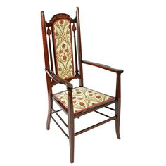 Art Nouveau Inlaid Mahogany Arm Chair   A late 19th to early 20th century Art Nouveau design mahogany high back arm chair.  The chair is inlaid with box wood line inlays and Art Nouveau shapes.  The back has an arched top rail and an upholstered centre panel.  The front legs, which are also the arm supports, are square, tapering and inlaid.  The back legs are turned and kick out with cross rails between the legs for extra strength.  The chair is upholstered in a modern Art Nouveau style material Art Nouveau Design, Antique Chairs, Antique Art, Modern Art, Armchair, Victorian, Antiques, Wood, Centre