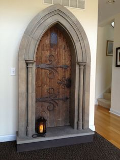 A medieval doorway - there's a mini-tut in the link. Consider, this could also be done with foam instead of wood