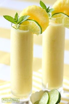Luscious Frozen Pineapple Coolers // chilled pineapple chunks, ice, lime juice, coconut milk, rum [optional] via Pizzazzerie #cocktails #summer Frozen Summer Drinks, Frozen Alcoholic Drinks, Best Summer Drinks, Fruity Alcoholic Drinks, Slushy Alcohol Drinks, Frozen Mixed Drinks, Summertime Drinks, Summer Beverages, Beach Drinks