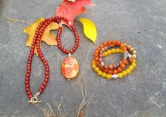 """""""Autumn Leaf"""" Handcrafted Fire Agate and Carnelian Necklace Set hot off the press for Fall and the seasons to come! Handcrafted with love."""