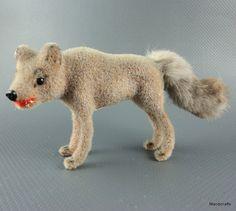 #Wagner Germay #Wolf Grey Wool Flocked 1990s Kunstlerschutz Putz Figure Label Fur Tail New Old Stock
