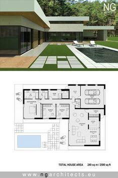 Modern villa Victoria designed by NG architects www.ngarchitects.eu rechten teil oben drauf setzen, und über garage terrasse