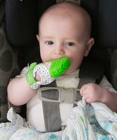 This flexible, cozy mitt is the ideal soothing tool for tiny teethers. The adjustable Velcro strap ensures a just-right fit, while the simple hand-to-mouth access and soft silicone help ease sore gums and protect bitty fingers from excessive saliva and chewing. Note: Intended for use with infants 3 to 12 months of age.