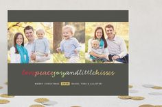 """GOLD :: CHRISTMAS   """"Happy Kisses"""" Christmas Photo Cards by fatfatin at minted.com"""