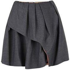 Carven Dark Grey Wool Blend Pleated Wrap Skirt ($465) ❤ liked on Polyvore featuring skirts, bottoms, saias, faldas, draped asymmetrical skirt, knee length pleated skirt, wrap skirt, wool blend skirt and carven skirt