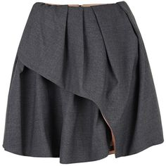 Carven Dark Grey Wool Blend Pleated Wrap Skirt (1.885 RON) ❤ liked on Polyvore featuring skirts, bottoms, saias, faldas, dark grey skirt, pleated skirt, wrap skirt, carven skirt and draped asymmetrical skirt