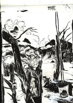 Sketch artwork. Love the inking. Found on ryanhansonill.tumblr.com.