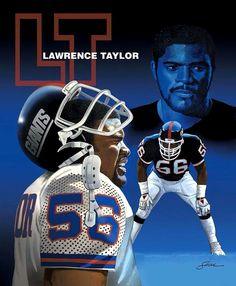 Lawrence Taylor Painting by Harold Shull - Lawrence Taylor Fine Art Prints and Posters for Sale New York Giants Football, My Giants, Steelers Football, Football Helmets, Football Stuff, Football Players, Beast Of The East, Lawrence Taylor, Nba