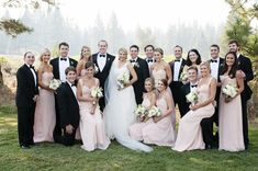 Blush and Black Wedding Party | Bella Bridesmaid | Angie Silvy Photography | TheKnot.com