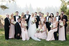 Blush and Black Wedding Party | Bella Bridesmaid | Angie Silvy Photography | TheKnot.com