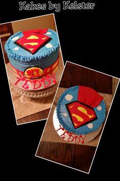 Superman themed birthday cake~chocolate cake with chocolate mousse filling and buttercream frosting. #supermancake #chocolatecake #superherocake #coolcakes #blueandredcakes #redandbluecakes