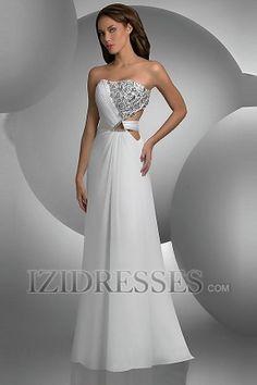 A-Line Sheath/Column Strapless Chiffon Prom Dresses