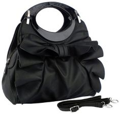 Large Bowknot Ruffle Double Handle Leatherette Satchel Hobo Handbag w/Shoulder Strap --- http://www.pinterest.com.welik.es/12