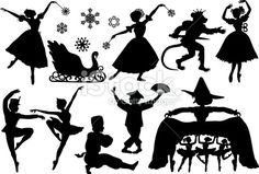Nutcracker Ballet Silhouettes Royalty Free Stock Vector Art Illustration