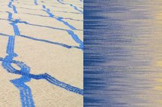 Handmade Rug Production Samples for CHANTS, designed by Alvaro Calleja for RUG YOUR CITY, a Kickstarter project to produce handmade rugs inspired by modern cities.  CHANTS was designed as a flatweave rug that may be embroidered. This image is an example of the type of weaving and style backers can expect to see produced.