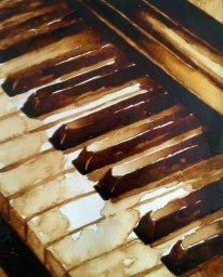 Watercolor painting of white and black piano keys.