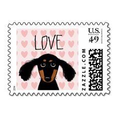 Cute Dachshund Puppy Love Postage #valentine
