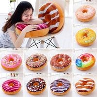 Wish | 3D Creative Plush Donut Food Pillows Stuffed Toys Dolls Funny Cartoon Donuts Pillow Cover Plush Sweet Chocolates Sofa and Chair Back Cushions Car Mats Student Pillow Case Xmas Gifts Decor 10 color