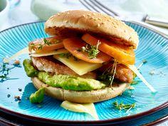 Leckere Rezepte mit COMTÉ - Zum Beispiel: Puten-Avocado-Cheeseburger