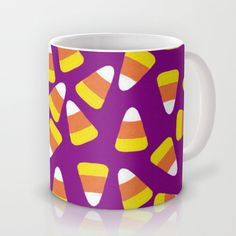 Candy Corn Jumble (purple background) Mug by Lisa Argyropoulos - $15.00