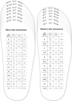 shoes measurement chart for printable adult (men and woman) shoes sizing chart…