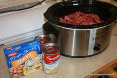 Round steak in the crockpot 1 pound (give or take) round steak  1 can cream of mushroom soup  1 pack dry onion soup mix  1/4 cup water  Sour cream to taste   Slice the round steak into strips.  I like to cut mine while it's still slightly frozen so it slices more easily.  Place into your crock pot.  Top with remaining ingredients and stir well.  Cook on low for 5-6 hours.   Leave the sour cream out of the portion that will be frozen.  I serve it over rice,potatoes or egg noodles.