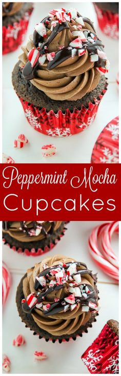 Supremely moist and decadent chocolate cupcakes topped with peppermint mocha frosting, a drizzle of chocolate ganache, and crushed candy canes.