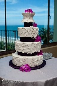 White Cake with Scrollwork and Hot Pink Flowers