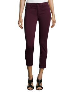 J Brand Jeans Anja Skinny Cuffed Ankle Jeans, Deep Mulberry, Size: 26