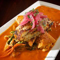 pescado del dia | flounder, vegetable medley, crab-potato enchilada, habanero-tomato sauce