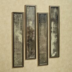 Antique Wall Mirror Panel Set Antique Silver Set of Four