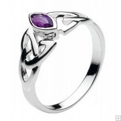 Celtic Silver Marquise Amethyst Trinity Knot Ring