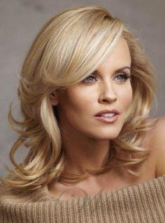 Graceful Deluxe Shoulder Length Medium Curly Blonde 100% Indian Human Hair Lace Front Wig about 14 Inches