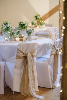 Hessian Lace Chair Covers Pretty Natural Rustic Woodland Wedding http://riamishaal.com/