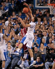 Freshman Anthony Davis set the Kentucky single-season blocked-shot record with his 84th, in the first half against BJ Young of Arkansas on Tuesday. See our photo gallery from the game at http://bit.ly/vZRD0B. Photo by MARK CORNELISON | Herald-Leader.
