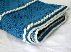 Gorgeous Hand Crocheted Soft Ocean Blue Lap Afghan warm winter blanket throw washable home decor
