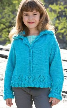 Free knitting pattern for Lacy Border Sweater - Melissa Leapman designed this cardigan for Red Heart with lace motifs and borders at the hem and sleeves. Sizes 4 through 10.