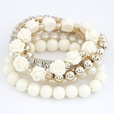 Women Bracelets Charm & Bangles Jewelry Cute Beads Flower Bijoux Elastic